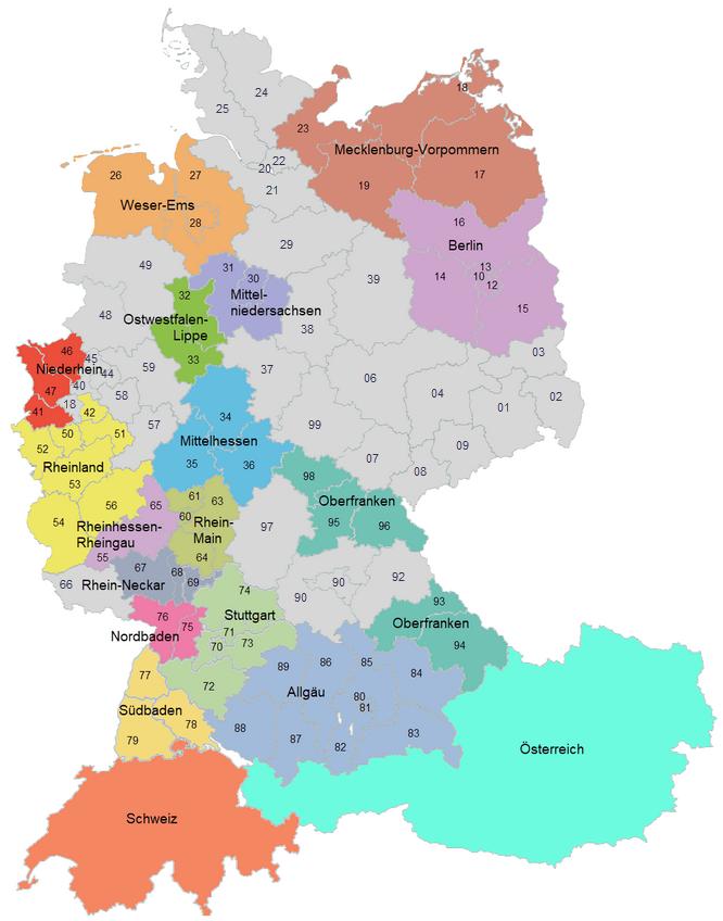 Regionen der DCG